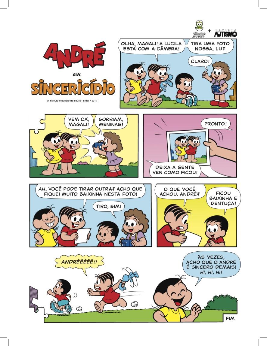 André e a Turma da Mônica na Revista Autismo — Tismoo